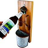 Bottle Opener Wall Mounted - Rustic Vintage Wood Plaque Beer Opener