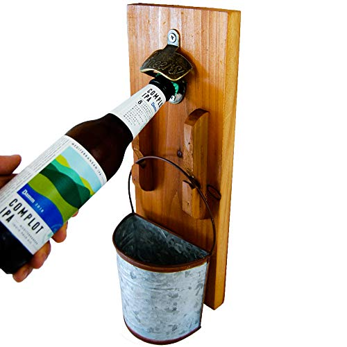 Bottle Opener Wall Mounted - Rustic Vintage Wood Plaque Beer Opener -