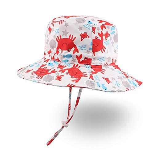 XIAOHAWANG Baby Boy Bucket Toddler Kids Sun Hat UPF 50+ Wide Brim Outdoor Beach Caps Play hat (Crab, XS (6-12 Months))