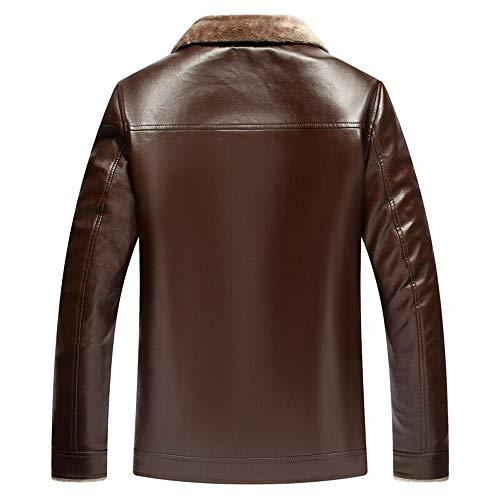 Quotidien Manteau Plus Cuir Velvet Hommes En Color Mode Survêtement Hiver Formel Occasionnelle Deelin Revers Zipper Pure Veste 1 Marron ZEqw8H