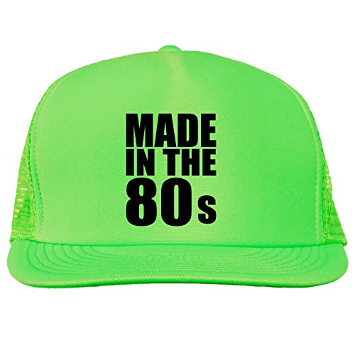 Made in the 80s Bright neon truckers mesh snap back hat in Neon Green - One Size