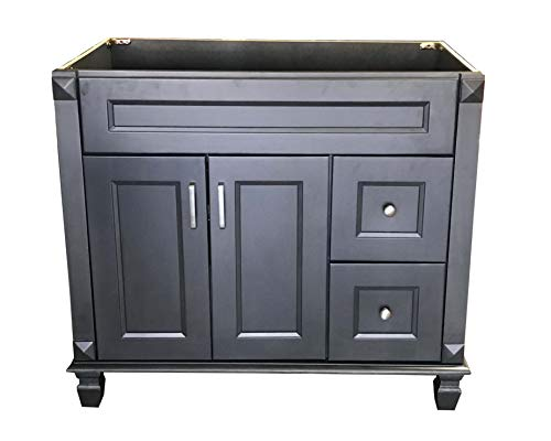 """Carbon Metallic solid wood Single Bathroom Vanity Base Cabinet 36"""" W x 21""""D x 32"""" H (RIGHT Drawers) - Carbon Metallic 36 """"x 21"""" x 32"""" RIGHT drawers Assembly needs !!!! Solid wood with hardwood plywood construction,Made of wood - bathroom-vanities, bathroom-fixtures-hardware, bathroom - 41pFBgH3EwL -"""
