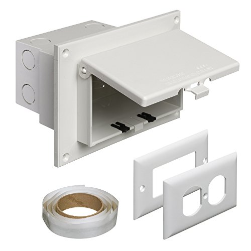 Arlington DBHR1W-1 Low Profile IN BOX Electrical Box with Weatherproof Cover for Flat Surface Retrofit Construction, 1-Gang, Horizontal, White