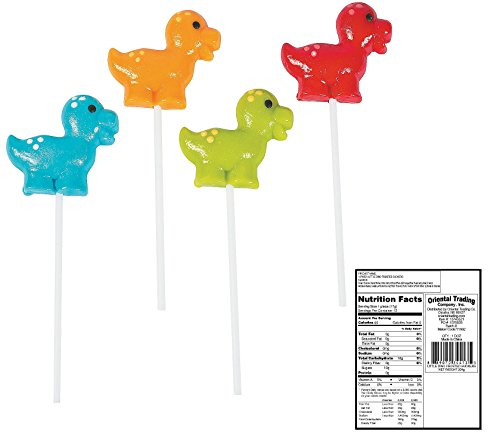 Dinosaur Shaped Suckers Lollipops - (12 ct.) Orange, Blue Raspberry, Lime and Cherry Flavored.