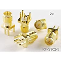 CablesOnline , 5-Pack RP-SMA Female Jack PCB Clip Edge Mount 1.6mm RF Connectors, RF-S902-5