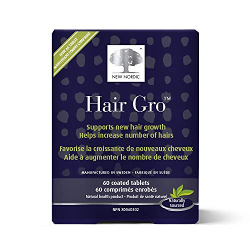 New Nordic Hair Gro, 60 Tablets Hair Growth Supplement, Biotin, Palm Fruit Extract, Naturally Sourced Ingredients (Best Hair Growth Tablets)