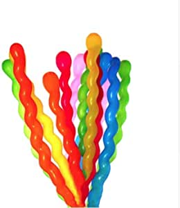 150cm Long Spiral Balloons100 Pack Assorted for Parties, Birthdays, Clowns, and Events decoration