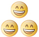 Dubster Brand Emoji Emoticon Grin Face with Smiling Eyes Character Cosutme Mask, Pack of 3