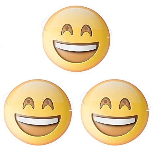 Dubster Brand Emoji Emoticon Grin Face with Smiling Eyes Character Cosutme Mask, Pack of 3 - Smiling Emoji Adult Mask