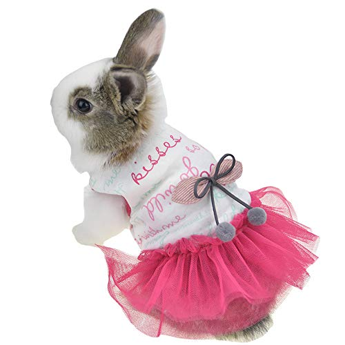 Costumes For Rabbits (FLAdorepet Cute Bunny Rabbit Dress Clothes for Mini Dog Small Animal Chinchilla Easter Costume Outfits (XS(Chest 11.0inch),)