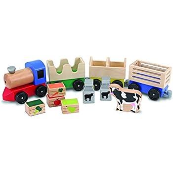 Melissa & Doug Wooden Farm Train Set - Classic Wooden Toy (3 linking cars)