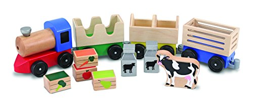Doug Wooden Train (Melissa & Doug Wooden Farm Train Set - Classic Wooden Toy (3 linking cars))