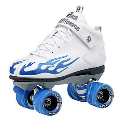 Sure-Grip Rock Flame Skate White with Blue Flame sz 9 ()