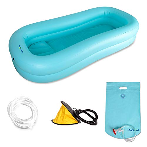 CAREUALL Inner size 65.35in(L), 18.89-20.86in(W) PVC Medical adult inflatable disabled bathtub, bath in bed assistive aid, with pillow foot pump, sprinkler water bag, for disabled ()
