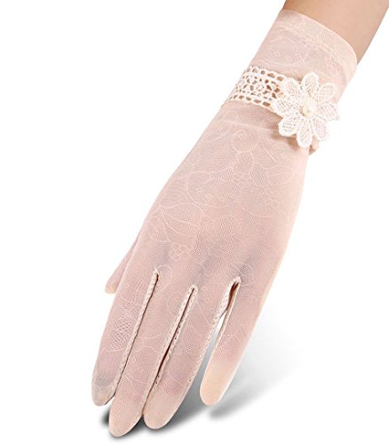 Color Lace Gloves (Nurbijar Women UV Protection Lace Gloves Anti-slip Touch Screen Driving Gloves-Beige Color)