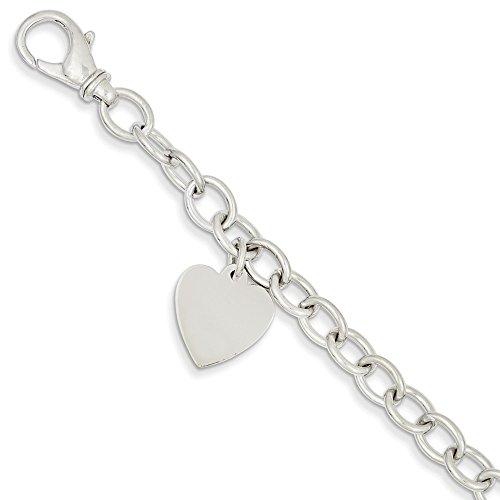 Jewel Tie 14k White Gold Big Heavy 8.5in Polished Engravable Link with Heart Pendant Charm Bracelet (13mm) - 14k Heavy Charm Bracelet
