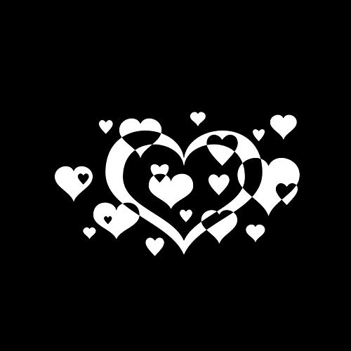 16CM9.4CM Overlapping Love Heart Beautiful Vinyl Art Car Windshield Sticker Decal Black/Silver C15-0678 - Hearts Overlapping
