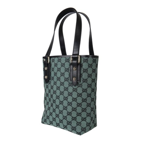 Gucci Women's Green Canvas Leather Trimmed Guccissima Tote Shoulders Bag