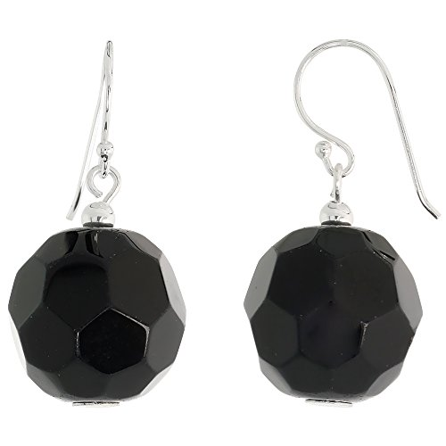 Sterling Silver Dangle Earrings, w/ Faceted Black Obsidian Beads, 1 1/4