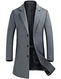 Men's Wool Peacoat Winter Long Trench Coat Top Coat