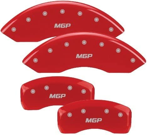 Set of 4 MGP Caliper Covers 38015SMGPRD MGP Engraved Caliper Cover with Red Powder Coat Finish and Silver Characters,
