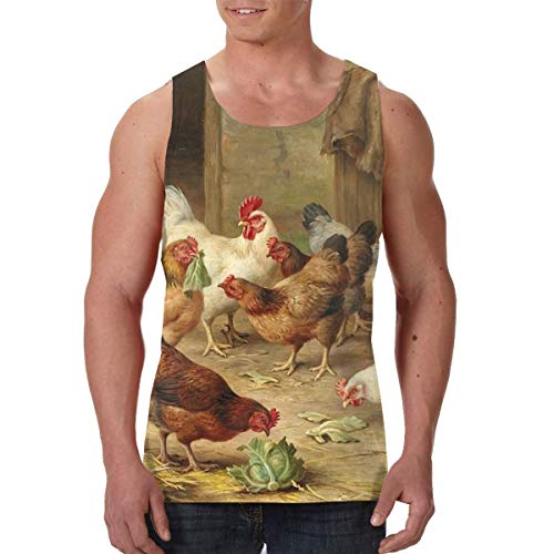- FANTASY SPACE Men's Boys Rooster Chicken Hen Farm Sleeveless Undershirt Summer Athletic Muscle Tank Top Slim Fit Vest Fitness Sport Cool Dry Moisture WickingDaily Wear