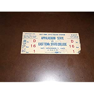 1953 APPALACHIAN STATE AT EAST TENNESSEE STATE COLLEGE FOOTBALL UNUSED FULL TICKET