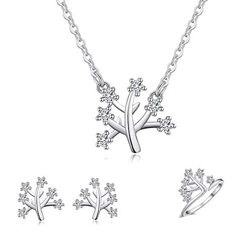 - ISAACSONG.DESIGN 925 Sterling Silver Daisy/Sakura/Snowflake Flower Crystal Pendant Necklace Earring Bracelets Ring Set for Women (CZ Tree of Life Set)