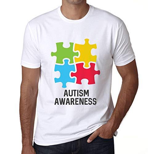 Ultrabasic Men's Graphic T-Shirt Autism Awareness White ()