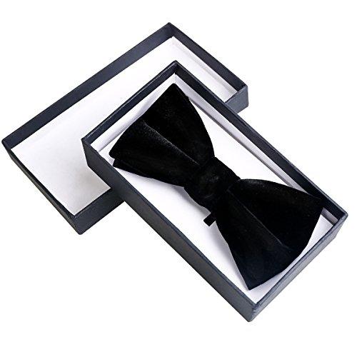 Mens Black Bow Tie Velvet (Black Velvet Bow Tie)