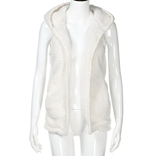 Inviern Mujers Chaquetas de sin Chaleco con Caliente Niñas Capucha Cálido Blanco Lenfesh Abrigo Mangas Camiseta Casual Suéter wCdt88q
