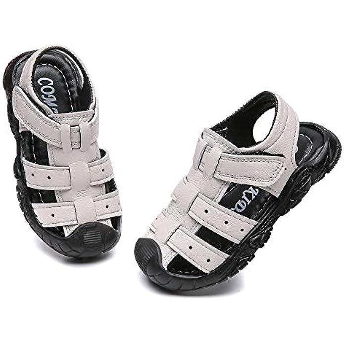 Komfyea Summer Outdoors Closed Toe Children Cute Soft Beach Sandal Shoes(Toddler/Little Kids)
