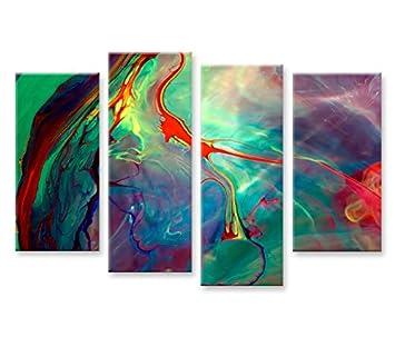 Abstraktes Werk 4er 4 Cuadros Modernos Cuadro En Lienzo Listos Para