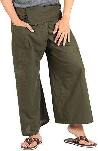 724395a7f1 CandyHusky Cotton Men Women Fisherman Pants Summer Tai Chi Hippie Yoga Pants  (Dark Olive Green)