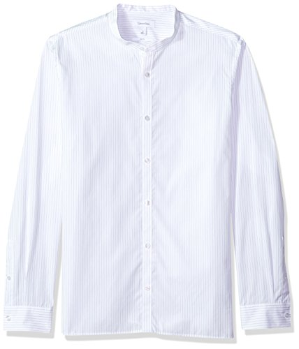 Calvin Klein Men's Long Sleeve Button Down Shirt with Band Collar, White, L Long Sleeve Band Shirts