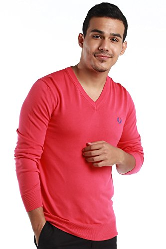 """Fred Perry Green Label Men's Sweatshirt Medium Pink V-Neck Sweatshirt with Blue """"laurel"""" by Fred Perry (Image #1)"""