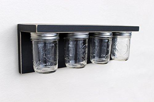 Legacy Studio Décor Storage Jar Shelf with Mason Jars, Distressed Black