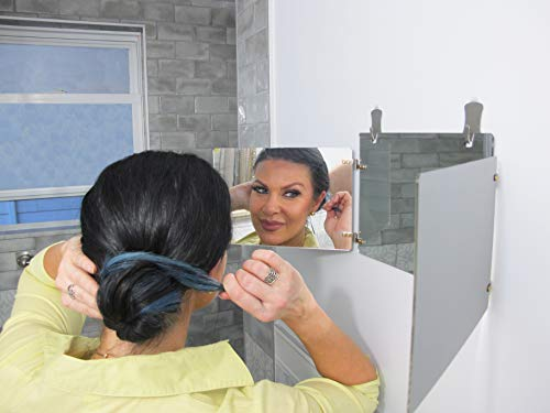GAT Trifold Mirror - 3 way mirror used for Self Hair Cutting, Fogless Shaving in the Shower, Makeup, Hair styling and Coloring. The perfect travel mirror. G.A.T. -''Go Anywhere Tri fold'' by Viribus. by Viribus (Image #3)