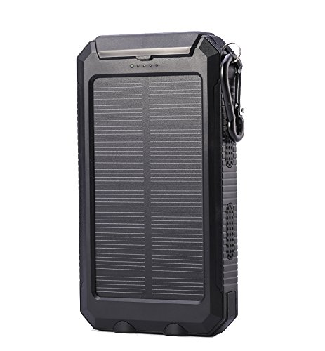 Adventure Life Fitness Portable Phone Charger by ALF Powerful 10000mAh Solar Charging Dual USB Bonus Safety 2 LED Lights Compass (Black)