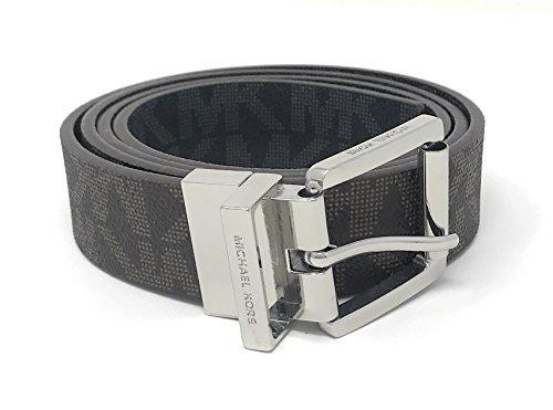 Michael Kors Women's 30mm Brown To Black Reversible MK Logo Monogram Synthetic Leather Belt (S)