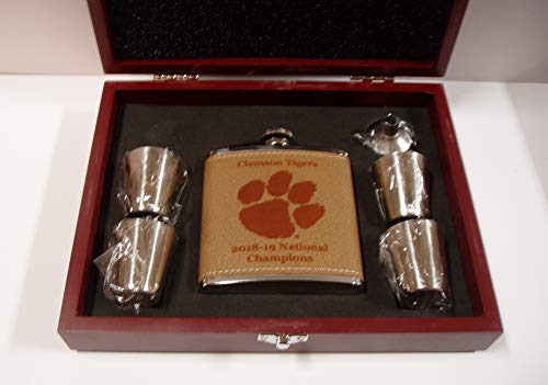 Clemson Tigers 2018-2019 NCAA National Football Champions leather 6 oz covered stainless steel flask with 4 stainless steel shot glasses and a funnel in a rosewood presentation -