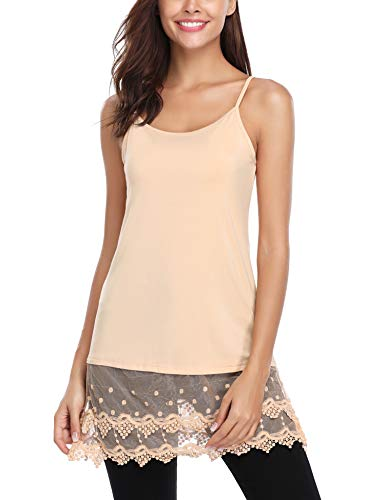 Hawiton Women's Lace Trimmed Tank Tops Adjust Cami Lingerie Shirts Tunics Slips Dress Shirt Nude