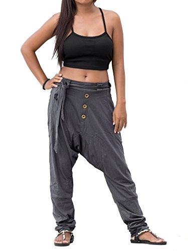 Two Pocket Waist Elastic (Thaluta Harem Pants Women Men Cotton Drop Crotch with 2 Pockets Elastic Waist Grey (Grey, S/M))