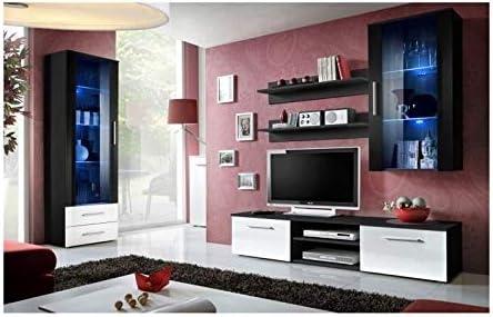 PRICE FACTORY just for you - Mueble para televisor de diseño Galino, Negro y Blanco. Mueble Moderno para tu salón.: Amazon.es: Hogar