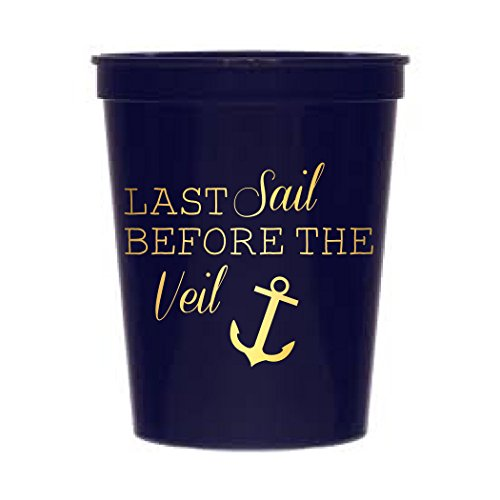 Last Sail Before The Veil, Navy Blue and Metallic Gold Nautical Bachelorette Party Stadium Cups, Nautical Wedding, Nautical Bachelorette Party Decoration, Navy Blue Wedding
