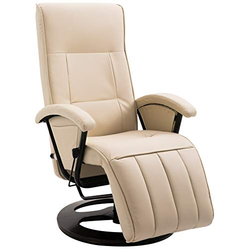 Faux Leather Reclining Leisure Chair - Cream White