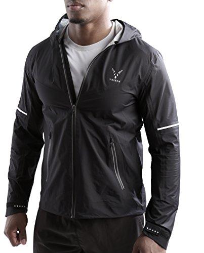 (Vaiden Hyperion - Men's Rain Jacket - Seam Sealed/Water Repellent/Lightweight (Small) Black)