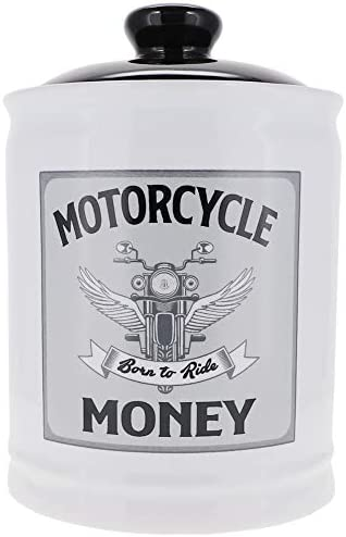 Cottage Creek Piggy Bank, Motorcycle Jar, Round Ceramic Biker Bank with Removable Black Lid, Motorcycle Gift [White]