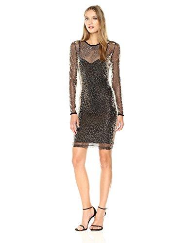 Just Cavalli Women's Sheer Animal Dress, Gold Variant, 40