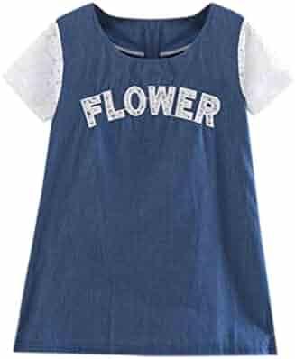 a26381007cf Little Girl Summer-Denim-Dresses Lace Sleeveless Princess Dress